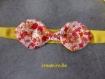 Headband bandeau tissu jaune nœud papillon fleuri
