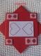 Carte saint valentin rouge cœurs  brodés
