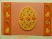 Carte de pâques œuf décoré et ruban poussin