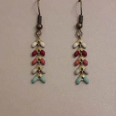 Boucles d'oreilles chaîne chevrons épis multicolores