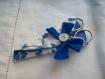 Pochette étui à ciseaux fleur bleue manucure broderie