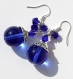 Boucles d'oreilles argentées avec grosses perles et bicones bleus en cristal