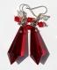 Boucles d'oreilles argentées avec goutte en cristal rouge et bicones en cristal rouge et transparent