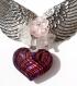 Collier plastron ras de cou argenté en ailes d'ange et orné d'un gros coeur en verre et de fleurs en lucite