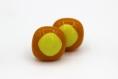 Paire de puces d'oreilles -orange et jaune
