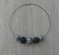 Collier de perles rondes noires et blanches