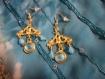 Boucles d'oreilles turquoise et or