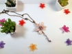 Collier métal bronze avec breloque orchidée rose nacrée en fimo