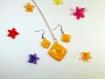 Parure collier et boucles d'oreilles assorties façon fruits gout citron en fimo