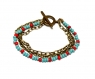 Bracelet 3 rangs chaines verre rocaille turquoise rouge - fermoir toggle bronze