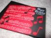 Carte pour anniversaire musique rouge et noir