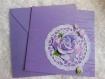Carte pour anniversaire fleurs et napperon violet blanc