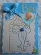 Carte pour naissance garçon biberon brodé ruban vichy