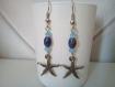 Boucles d'oreille étoile de mer et perles bleues