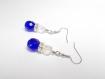Boucles d'oreilles pendantes, boheme bleu cobalt, crystal, strass