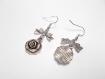 Boucles d'oreilles pendantes, breloques noeud, fleur, métal argenté vieilli