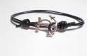 Bracelet coulissant cuir noir, breloque ancre