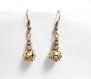 Boucles d'oreilles pendantes perles ajourée métal bronze