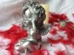 Petit ange plâtre peint argent main