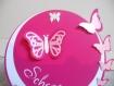 Faire-part rond papillons personnalisé (modéle schana) 3 dimensions et ciselés,fuchsia et blanc, cercles concentrique personnalisable baptême, naissance