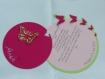 Faire-part rond papillons (modéle anaé ),personnalisé avec prénom de l'enfant(s), fuchsia rose et vert anis, cercles concentrique baptéme, naissance