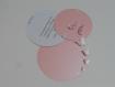 Faire-part papillons 3d rond,personnalisé, prénom enfant(s) cercle concentriques personnalisable, rose pale irisé, blanc, rose pale irisé
