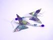 Boucles papillons origami motif japonisant bleu foncé