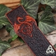Marque-page cuir dragon celtique, cadeau lecteur mixte, livre médiéval fantasy, cuir repoussé marron brun, triquetra féerique, homme, père