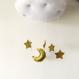 Nuage blanc mobile avec suspension étoiles et lune doré, or, paillette, bebe, enfant, chambre, eveil ,sieste, dormir, decouvrir