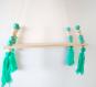 Étagère nordique, bois, perle,pompon vert, scandinave, minimaliste, épuré, chambre, salon, décoration