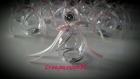 Contenant à dragée boule en plexi simple avec alu et 2 rubans blanc et rose pâle