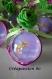 Contenant à dragée boule en plexi thème fée clochette parme et vert anis