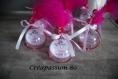 Contenant à dragée boule en plexi thème ange - rose fushia et blanc