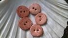 5 boutons en céramique émaillée rose ancien - estampés motifs japonisants
