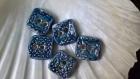 Lot de 5 boutons carrés motifs arabesques dentelle en terre cuite fait main méthode artisanale