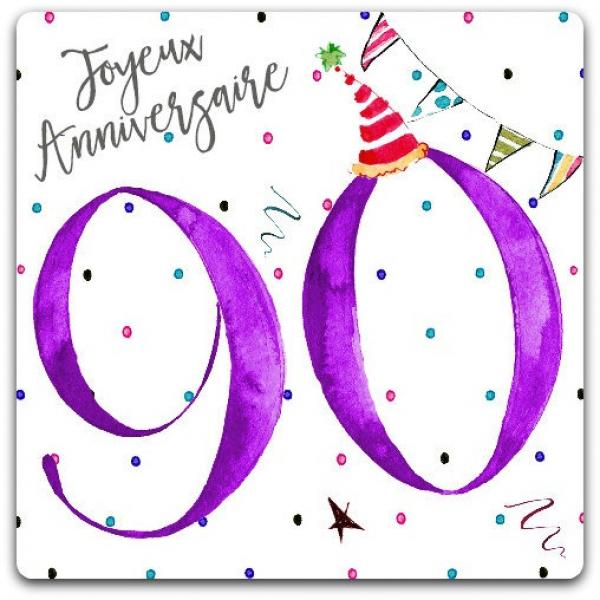 Carte Anniversaire 90ans 90 Years Old Joyeux Anniversaire 15cm X 15cm Avec Enveloppe Card Bubble Par Cardbubble