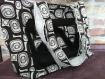 sac cabas  en coton blanc et noir