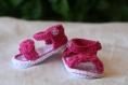 Sandales bébé rose taille 3-6 mois en coton fait main