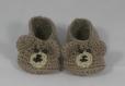 Petits chaussons ourson brun taille 0-3 mois en laine fait main