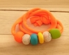 Bracelet 4 en 1 creapam en lycra orange fluo et argile polymère multicolore 20459807