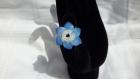 Bague tissée avec des coeurs et des perles de swarovski bleues et blanches