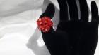 Bague coeur tissée en perles de swarovski orangées