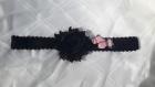 Bandeau petites filles noir et embellissements noir et rose