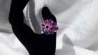 Bague tissée en perles de swarovski fuchsia et violettes modèle apollon