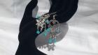 Boucles d'oreilles coeur de féerie réalisées avec des perles de swarovski turquoises