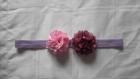 Bandeau petites filles mauve et embellissements rose
