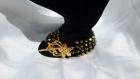 Bracelet multi-rangs tissé en perles de cristal noires et dorées
