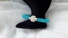 Bracelet stardust réalisé en résille bleue et strass bleus