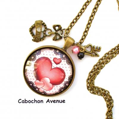 2ffb6f04ff6 Collier pendentif romantique saint-valentin amour cherie love coeur  dentelle pois bijou fantaisie bronze cabochon verre cadeau saint-valentin  cadeau fête ...