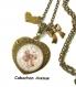 S.7.176 collier pendentif coeur love maman clé coeur noeud bijou fantaisie cabochon bronze verre cadeau maman cadeau fête des mères